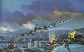 Картинка Boeing, Арт, B-17, Тяжёлый, Первый, Летающая крепость, Flying Fortress, Серийный, Американский Цельнометаллический, Четырёхмоторный Бомбардировщик