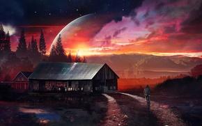 Картинка дорога, лес, небо, девушка, звезды, горы, ночь, велосипед, дом, планета, фэнтези, зарево, Stars, Home, Planet