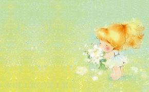 Картинка лето, цветы, настроение, арт, девочка, полянка, букетик, Екатерина Бабок, детская. лето