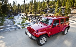 Картинка Красный, Дорога, Джип, Sahara, Wrangler, Jeep