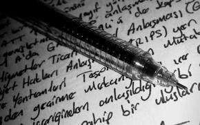 Картинка macro, black and white, paper, pen, ink, writing