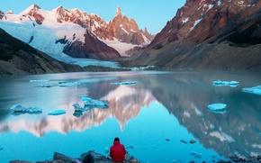 Обои Аргентина, Патагония, снег, горы, лед, Cerro Torre, озеро, камни