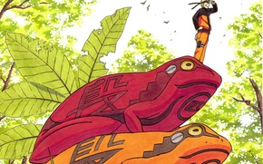Картинка небо, листва, Naruto, жабы, ninja, Naruto Uzumaki, наруто ураганные хроники, art Masashi Kishimoto
