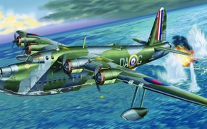 Картинка ww2, Sunderland Mk.I, painting, airplane, war, art