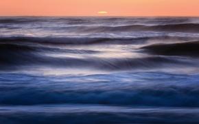 Картинка небо, вода, солнце, закат, синева, океан, вечер, горизонт, Калифорния, прибой, США, оранжевое