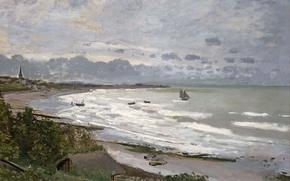 Картинка море, пейзаж, берег, картина, лодки, Клод Моне, Пляж в Сент-Адрессе