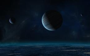 Картинка ночь, планета, спутники, газовый гигант, звёздное небо