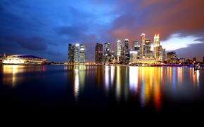 Обои небоскребы, отражение, залив, побережье, огни, вода, ночь, Сингапур