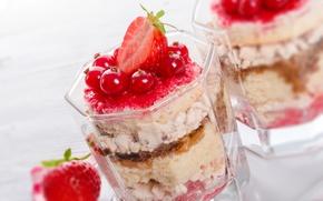 Обои смородина, сладость, клубника, десерт