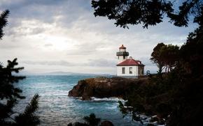 Картинка sea, sunlight, Lime Kiln Lighthouse