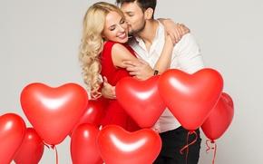 Картинка девушка, шарики, радость, улыбка, нежность, сердце, чувства, объятия, мужчина, влюбленные, kiss, lovers, embrace, Valentines Day, …