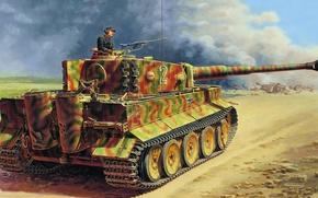 Картинка война, Тигр, танк, Tiger, тяжелый, немецкий