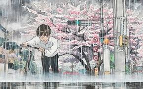 Картинка велосипед, город, дождь, Япония, акварель