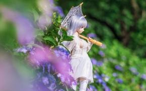 Обои лето, гортензия, зонтик, цветы, кукла