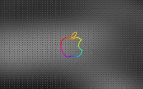 Обои металл, фон, apple, точки, Логотип