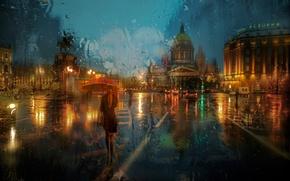 Картинка девушка, дождь, зонт, Питер, St Petersburg, Исаакиевская площадь