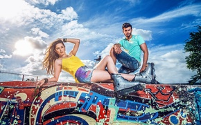 Картинка стиль, граффити, ролики, Thais Silva, Bruno Piechocki