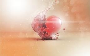 Картинка сердце, дым, арт