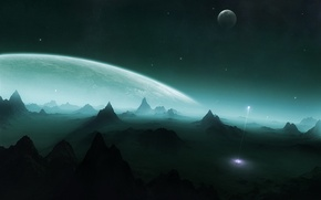Картинка горы, планета, ракета