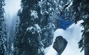 Картинка девушка, снег, обрыв, камень, ели, платье, Lichon