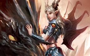 Картинка дракон, Девушка, доспехи, рога, острые уши