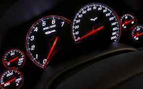 Обои панель, спидометр, приборы, Z06, Corvette, Chevrolet, тахометр, стрелки