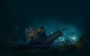 Картинка животные, ночь, город, замок, луна, настроения, Макро, улитка