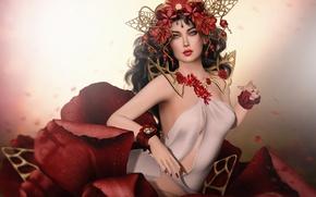 Картинка украшения, лепестки, девушка, цветок