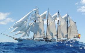 Картинка море, корабль, учебный, Juan Sebastián Elcano, (A-71), бригантина