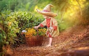 Обои цветы, детство, корзина, сказка, шляпа, мальчик, костюм, гусь