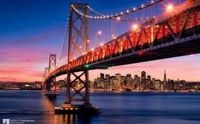 Картинка небо, закат, мост, город, Сан-Франциско, photographer, Kenji Yamamura