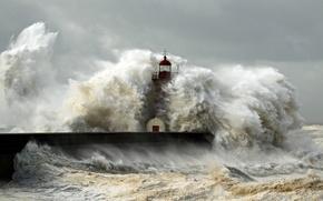 Картинка волны, шторм, океан, стихия, маяк