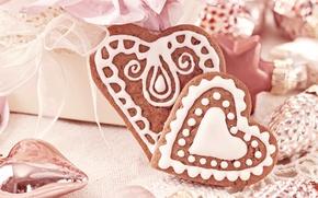 Картинка сердце, еда, сердца, печенье, сердечки, сладости, Christmas, выпечка, праздники, New Year, глазурь, новогоднее