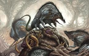 Картинка forest, death, fear, creature, teeth, herd