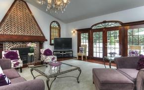 Картинка дизайн, диван, окна, камин, столик, гостиная, плазма
