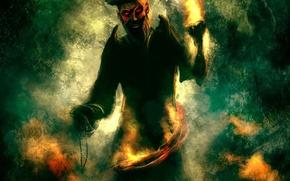Картинка огонь, рисунок, пират