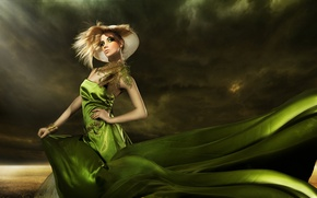 Картинка hat, feathers, green dress, makeup, fashionable girl, elegant hairstyle
