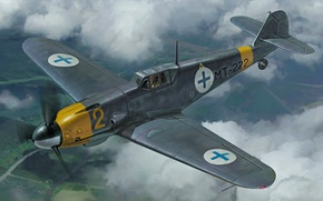 Картинка war, art, painting, ww2, Messershmitt BF109G-2 Finnish Air Force