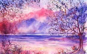 Картинка трава, деревья, горы, озеро, листва, акварель, нарисованный пейзаж