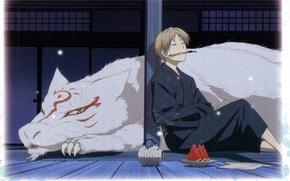 Картинка лето, ночь, лампа, арбуз, кисть, art, madara, natsume yuujinchou, тетрадь дружбы нацумэ, ёкай, takashi natsume, ...