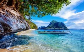Обои камни, тропики, скалы, небо, солнце, облака, море, Филиппины, побережье, деревья, лодка