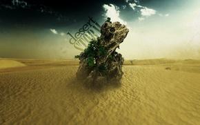 Обои песок, камень, Пустыня