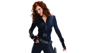 Картинка Scarlett Johansson, blue, pose, Avengers, black widow, uniform