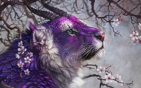 Картинка фиолет, лев, рогатый