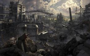 Обои завод, трубы, разрушения, цистерны, Benjamin Ross