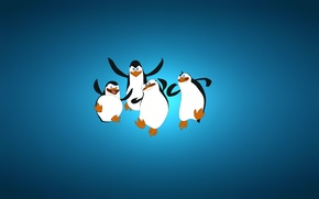 Картинка минимализм, синий фон, четыре, The Penguins of Madagascar, Пингвины из Мадагаскара