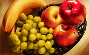 Картинка муха, корзина, яблоки, масло, бананы, живопись, винограды