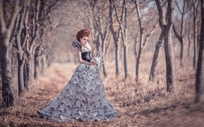 Картинка девушка, одежда, газеты, Dress from newspapers