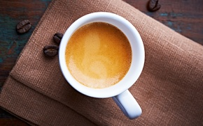 Картинка пена, кофе, зерна, чашка, белая, эспрессо