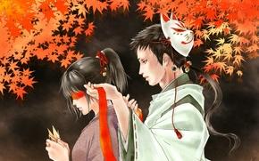 Картинка маска, повязка, кимоно, двое, оригами, красные листья, бубенчики